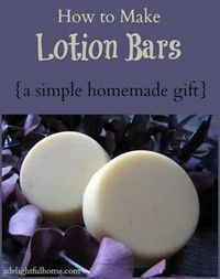 Simple homemade lotion bars - excellent for gifts! This lotion bar recipe is simple to make. It uses beeswax, coconut oil, and cocoa butter and can be prepared in less than 30 minutes.