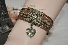 Retro Sunflower and Bronze love pendant  Bracelet by Evanworld, $4.99 Personalized fashion charm bracelet, the best gift of friendship.
