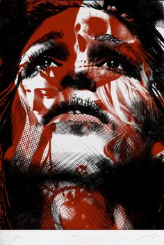 """Laura"" - Gabriel Moreno, etching and lithography {contemporary figurative artist female head woman face portrait illustration} gabrielmorenogallery.com"