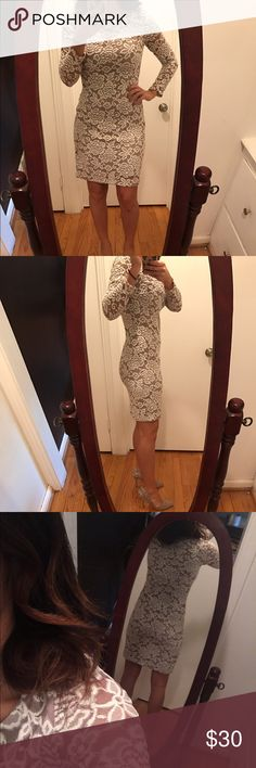 Taupe and Cream Lace Dress This dress is so flattering. I am a size 26 in jeans and 34D in bra size for reference. Hugs all the right places but isn't too tight you can't move! The arms are all lace and the body is lined with taupe. Would be perfect for a graduation, wedding, party, anything!! No zipper. Has a little stretch to it! Jessica Howard Dresses Mini