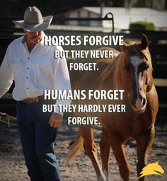 """Horses forgive, but they never forget. Humans forget, but they hardly ever forgive."""