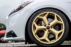 White #Ford #Focus ST 3 with gold wheels