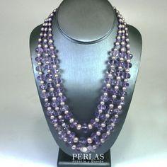 Collar graduado de 3 hilos de amatistas facetadas, perlas lavanda, con broche de oro de 14k amatista y perlas lavada - Perlas - Joyería y Diseño