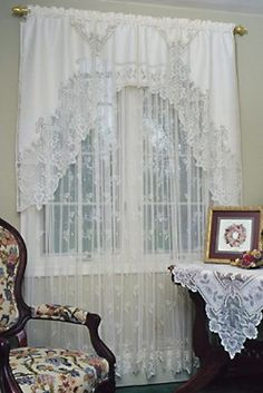 Dreamy white lace curtains. Sigh.