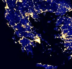 City lights of Greece as seen from space!!