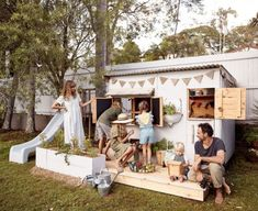 Castle and Cubby - Apple Crate Cubby House for Courtney Adamo and family. Cubby houses made by hand in Australia - Melbourne and Byron Bay. Kids Cubby Houses, Kids Cubbies, Play Houses, Kids Play Spaces, Kids Play Area, Backyard Playground, Backyard For Kids, Playhouse Outdoor, Courtney Adamo