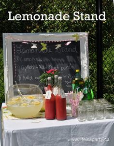 Lemonade Stand:  The perfect lemonade stand to impress your guests.  Invite them to make their own with lemonade, fresh fruit purees, and sparking water, or soda.  Fun for everyone, and so, so yummy; perfect for your next party.