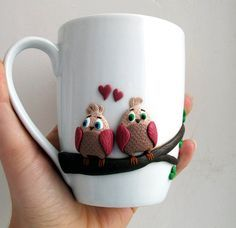 Люблю розовые птицы - мини милые птицы - на заказ кружки - кружки персонализированные - симпатичные кружки - кружка керамическая - летний подарок - кружки ручной работы