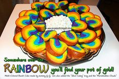 St. Patty's Day! Rainbow Bundt Cake with Marshmallow Clouds C. Very happy the way it turned out. ~Stephe