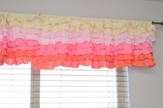 Ruffle Curtain Valance, Ombre Cream to Dark Coral Pink, OR You Pick the Colors