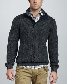 Stretch-Cotton Sweater & Flannel Shirt - Neiman Marcus