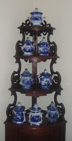 Collection Of Early Victorian Flow Blue Sugar Bowls c. 1840 - 1860