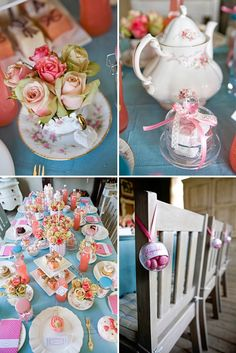 Tea party bridal shower inspiration things i like праздник, Tea Party Bridal Shower, Shower Party, Baby Shower Parties, Bridal Showers, Tea Party Theme, Shower Inspiration, Pink Turquoise, My Tea, Vintage Tea