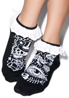 Too Fast Tattoo Eyelet Ankle Sock   Dolls Kill