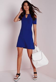 Missguided - Keyhole Cold Shoulder Shift Dress Blue
