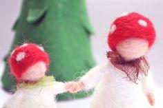 Waldorf-Pilz-Mutter und Kind, Filz wolle, Pilz, Geschenk, Waldorf Art, Natur, Tischdekoration, Herbst Dekoration