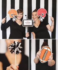 Football Party Photo Booth Idea (Referee Striped Backdrop + Themed Props) with full diy tutorial steps. Using top bedding sheets it's easy & affordable!