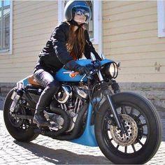 """Blue"" Custom Harley-Davidson XL Sportster by Federico Motors Style Cafe Racer, Cafe Racer Girl, Cafe Racer Build, Cafe Racer Bikes, Cafe Racers, Sportster Cafe Racer, Harley Davidson Sportster, Biker Chick, Biker Girl"
