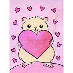 Hamster Valentine   Original Aceo on Etsy  It reminds me of our pet KIA