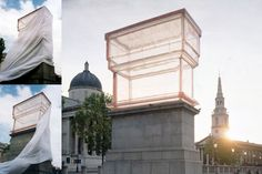 empty fourth plinth in resin, in London's Trafalgar Square for Rachel Whiteread.