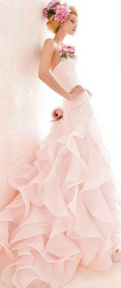 flange ruffles trumpet gown pink - Google Search