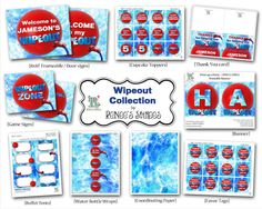 WIPEOUT Printable Birthday Collection  Customized by ReneesSoirees