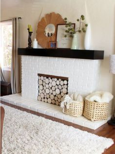 What a cool idea! Faux Fireplace.... want to do this with an Amish heater in it!