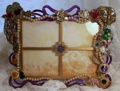 Victorian Embellished Metal Picture Frames covered in Vintage and Costume Jewelry Pearls and Handpainted Charms