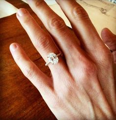 Eliza Coupe's engagement ring, Oval Cut diamond, solitaire design by Jean Dousset, custom handcrafted design, rose gold, celebrity engagement ring