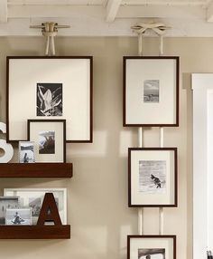 wall display using cleats and line . Pottery Barn . JaimeeRoseStyle via Flickr