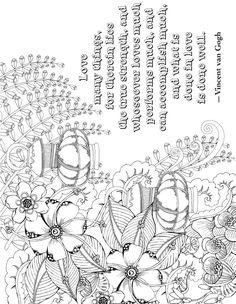"Creative Haven Deluxe Edition ""Artful Quotes"" Coloring Page - Vincent van Gogh - Free Printable"