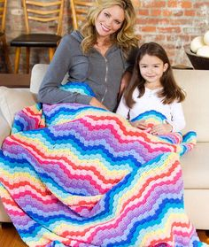 Rainbow Waves Throw Crochet Pattern   Red Heart-easy-check out the Red Heart website to see a video tutorial