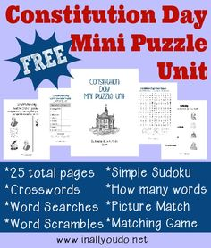 Celebrate Constitution Day with these fun and FREE puzzles! Includes…