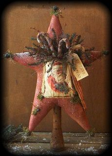 You will love the way this Star looks when it is completed!  This pattern includes complete instructions, recipe for the scented Rag Candy Canes plus  the template for the 1920's Vintage Santa postcard image.