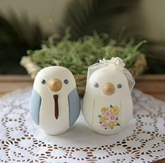Custom Wedding Cake Topper - Medium Hand Painted Love Birds with Painted Bouquet on Etsy, $125.00