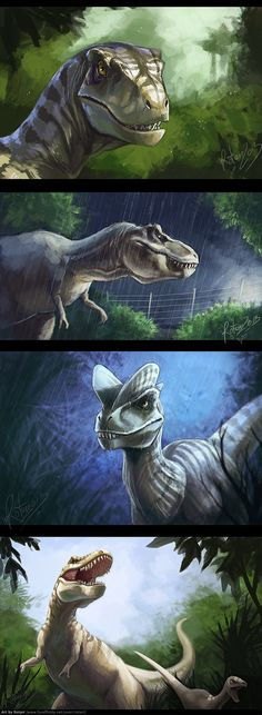Dinosaurs!! Who doesn't love them? <3 Picture-references were used for the first two, last two are drawn with my figures as reference. Except from the last one these are 1h to 2h speedpaints, la...