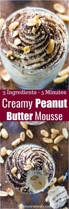 Easy Peanut Butter Mousse is made with just 3 ingredients in less than 5 minutes. Perfect to tame a quick peanut butter craving! #peanutbutter #mousse
