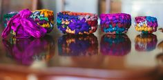 Nesting bowls made of upcycled Sari silk