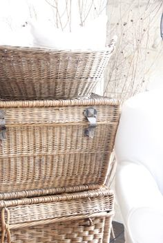 french baskets stacked provide storage & are shabby chic🌐 French Baskets, Vintage Baskets, Old Wicker, Wicker Baskets, Cane Baskets, Woven Baskets, Rattan, Storage Baskets, Storage Organization