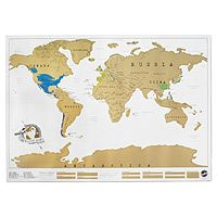 "Cool gift idea!  Track your travels with a handsome scratch-off-where-you've-been map that charts globetrotting in a fun, colorful and innovative way. Scratch off the areas you've visited to reveal adventurous pops of color that turn traveling into a ""domestic"" treasure hunt of on-the-fly geography lessons. Its brilliant colors and worldly charm is sure to enliven any room--just be sure to keep a coin handy for easy scratching!"