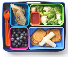 Finger Food - Love this fresh idea for kids' bento boxes featuring string cheese and a handful of whole wheat crackers as the entree and   broccoli and cauliflower florets with  light raspberry dressing as the side dish. For dessert, kids can enjoy blueberries and small slices of banana bread....For more ideas for school lunches visit http://school-lunch-ideas.net