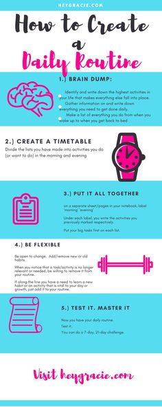 Easy Ways To Create A Daily Routine- Self-improvement how to create a daily routine-infographic -Today Was Fab Create your in this 5 east steps. how to create a daily routine-infographic -Today Was Fab Create your in this 5 east steps. Daily Routine Schedule, Daily Routines, Bedtime Routines, Healthy Routine Daily, Kids Schedule, Create Yourself, Improve Yourself, Evening Routine, Night Routine