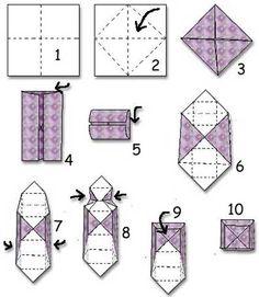 Skapligt Enkelt: Vik en ask Paper box Paper Crafts Origami, Diy Paper, Paper Art, Diy And Crafts, Crafts For Kids, Candy Gift Box, Origami Envelope, Useful Origami, Hand Painted Canvas