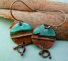 Fold formed copper and torch fired enamel earrings