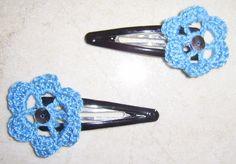 Horquillas de ganchillo flor en azul