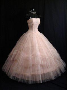 Beautiful floor length pink cloud prom dress of the Vintage Formal Dresses, Vintage Prom, 50s Dresses, Pretty Dresses, Bridal Dresses, Vintage Outfits, Vintage Clothing, Beautiful Dresses, Prom Dreses