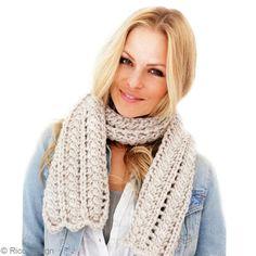 Tuto écharpe en laine grosse maille : Echarpe femme ajourée