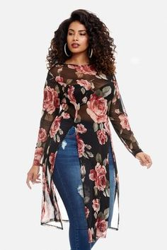 ShopStyle: Fashion to Figure Serena Floral Mesh Slit Tunic Big Girl Fashion, Curvy Women Fashion, Look Fashion, Plus Size Fashion, Fat Fashion, Curvy Outfits, Plus Size Outfits, Casual Outfits, Designer Plus Size Clothing
