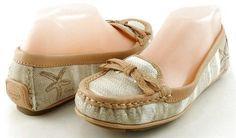 COACH IREEN STARFISH Khaki Printed Canvas Womens Designer Shoe Flats Loafers 7.5