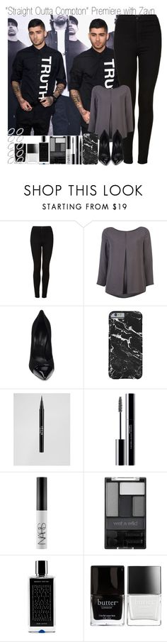 """""""""""Straight Outta Compton"""" Movie Premiere with Zayn"""" by elise-22 ❤ liked on Polyvore featuring Topshop, Halston Heritage, Casadei, Stila, shu uemura, NARS Cosmetics, Wet n Wild, Agonist, Butter London and ASOS"""